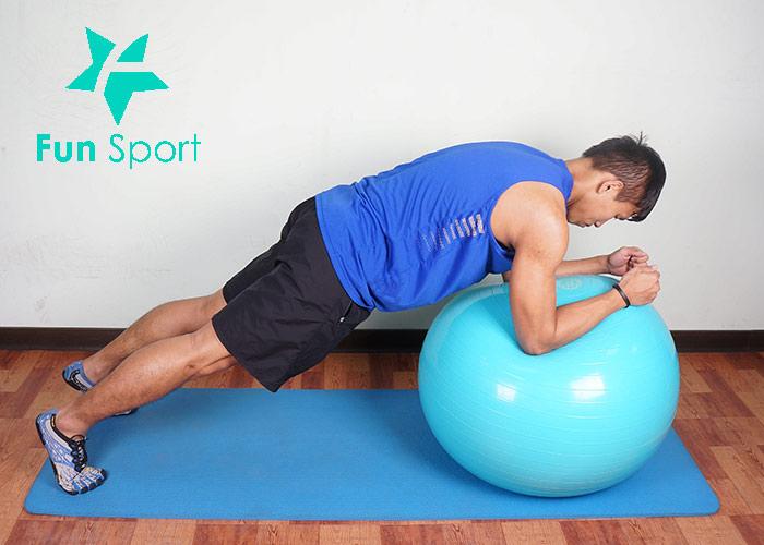 抗力球-腹肌運動-8:球上棒式