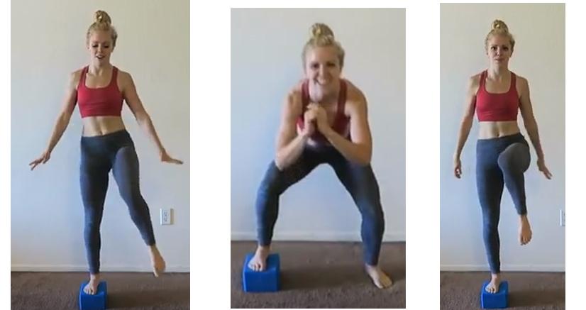 有氧運動,有趣的心肺運動方式,瑜珈磚除了瑜珈伸展外,這個朋友拿來取代階梯踏板,也是一個不錯的方式,抬腿深蹲還蠻有趣的。另外取代像小健身球,做抬腿腹部運動,也是強度不錯的運動。