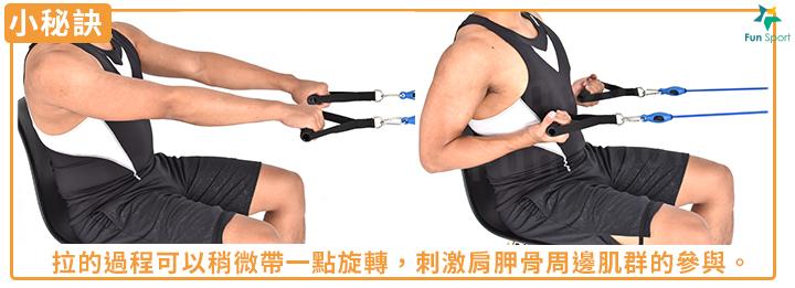 拉的過程可以稍微帶一點旋轉,刺激肩胛骨周邊肌群的參與。