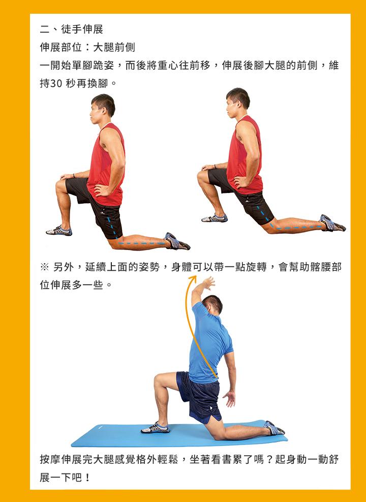 二、徒手伸展 伸展部位:大腿前側 一開始單腳跪姿,而後將重心往前移,伸展後腳大腿的前側,維持30 秒再換 腳。