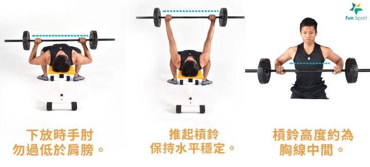 ※ 小秘訣:將槓鈴推開時,雙手可嘗試扭轉槓鈴( 非手肘直接向內夾,類似 要把槓鈴折斷的發力方式),刺激更多肌纖維的徵召。 ※ 小叮嚀:挑選能操作12 下並維持正確姿勢的合適重量,請勿躁進。