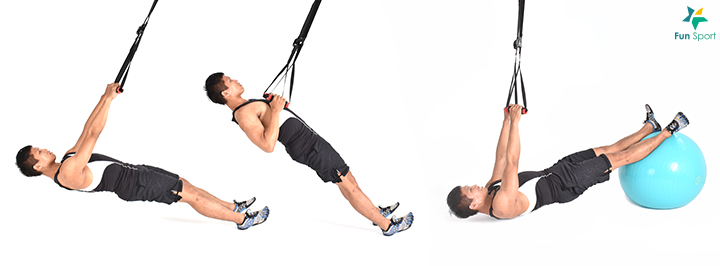 ※ 鍛鍊功效:由於懸吊繩非固定,為維持肩膀穩定,肩旋轉肌群參與更多。 三 下肢拉 ‧ 槓鈴直膝硬舉 1. 雙手略比肩寬,膝蓋微彎不鎖死,後縮肩胛骨挺胸,握住槓鈴。 2. 膝蓋角度不變,臀部向後推,身體前傾至幾乎與地面平行。 3. 整個動作過程,核心繃緊,後背打直不彎曲,槓鈴靠近身體。 4. 最後將身體抬起回到一開始的姿勢,進行12 下,5 組。