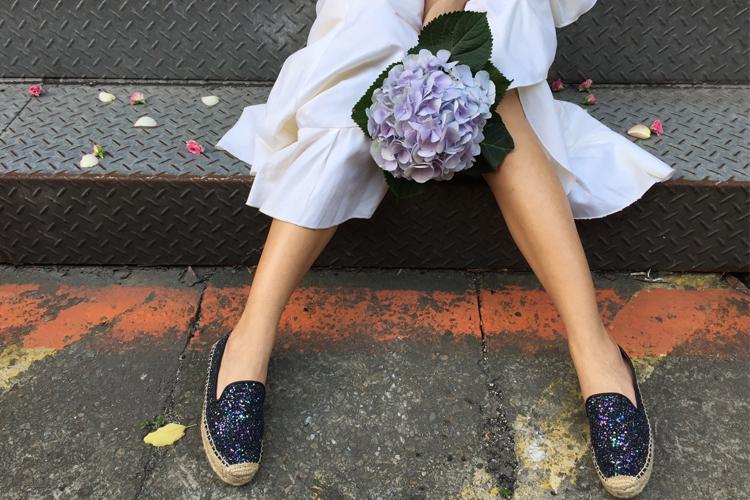 灰姑娘寶石藍草編鞋
