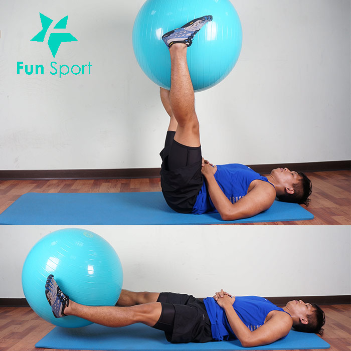 抗力球-腹肌運動-3:夾球抬腿