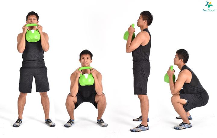 ‧ 壺鈴深蹲 1. 手持壺鈴托至上胸處,身體站直,雙腳與肩同寬。 2. 蹲下時屁股向後,膝蓋彎曲,核心肌群保持繃緊。 3. 如果可以下蹲到大腿與地面平行,膝蓋對準腳指方向不內夾。 4. 重心座落臀部,以臀部及大腿用力站起,重覆執行12 下3 組。
