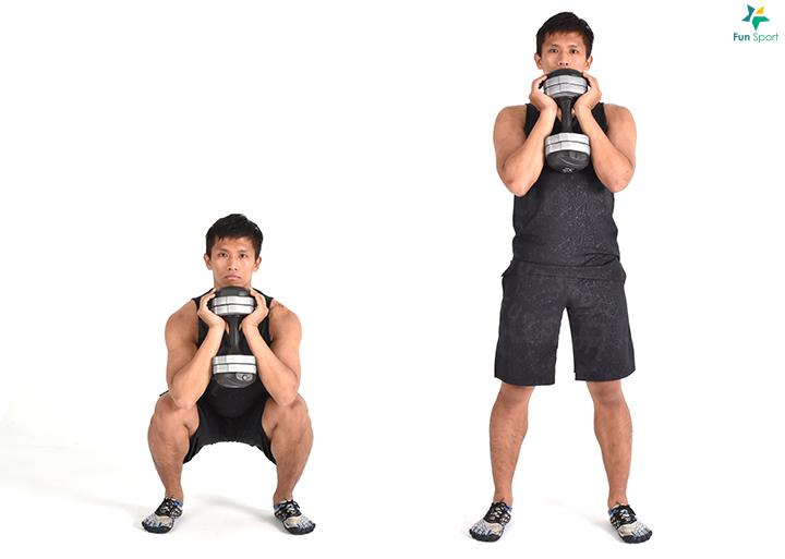 三 下肢推 ‧ 高腳杯深蹲 1. 挑選合適的重量,直握啞鈴托在胸前,手肘朝下,上半身挺直。 2. 保持核心緊繃,下背不前凹。 3. 臀部向後下蹲,蹲至大腿與地面平行,或以手肘觸碰膝蓋為止。 4. 臀部收縮前推站起,過程身體保持直線,執行12 下4 組。