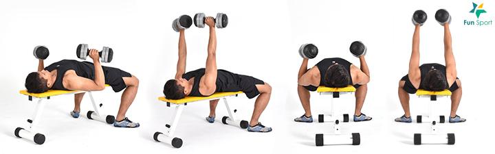 躺在椅上,掌心相對握住一對啞鈴,舉在胸部上方。啞鈴下放,肩胛骨保持緊繃,上臂盡可能靠近身體。啞鈴軌跡保持在垂直胸口的平面。手臂打直而不鎖死,將啞鈴推至最高點,操作5 組12 下