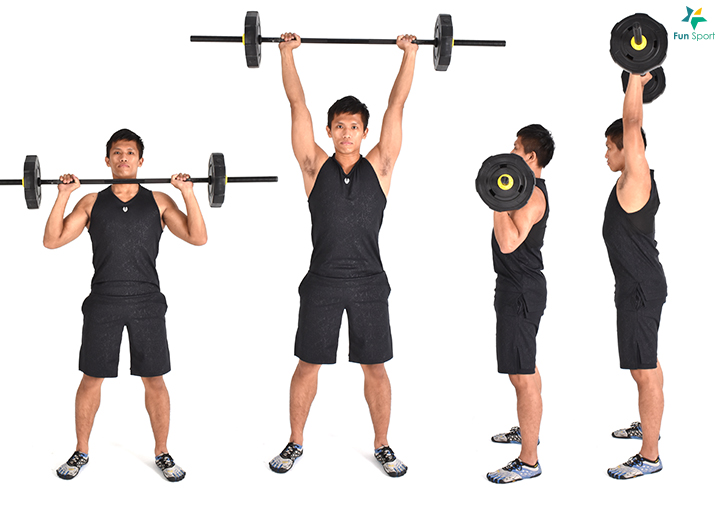 改變方式來增進不同刺激,可以與menu3 交替進行,每週2 次,執行2 週, 組間休息2 分鐘。 一 上肢垂直推 ‧ 槓鈴肩推 1. 正手握住槓鈴,略比肩寬,將槓鈴舉在肩膀同高的位置。 2. 雙腳與肩同寬,膝蓋微彎,核心繃緊保持穩定。 3. 手伸直將槓鈴高舉過頭,槓鈴行進軌跡進可能維持一個平面,再放下回到 起始姿勢。 4. 動作過程身體保持直立,操作4 組12 下。