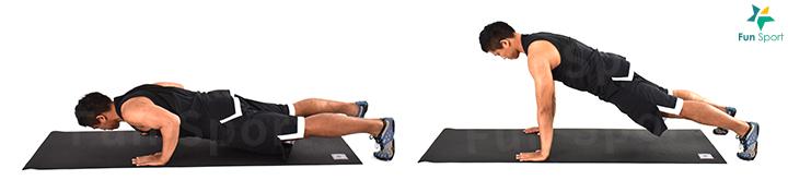 ‧ 伏地挺身 1. 四肢著地,雙手放地上略比肩寬,手掌在肩膀下方。 2. 腹部緊繃,臀部夾緊,身體呈一直線。 3. 身體下沉,手肘彎曲,上臂與身體呈45 度。 4. 過程維持姿勢,將身體推起,操作12 下3 組。
