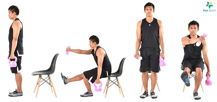 1. 單腳站立,站立邊手持壺鈴垂放,另一手拿啞鈴。 2. 膝蓋微彎,身體前傾下沉,啞鈴朝站立腳方向延伸。 3. 臀部用力,軀幹回到原來位置,每邊執行3 組6 下再換邊。