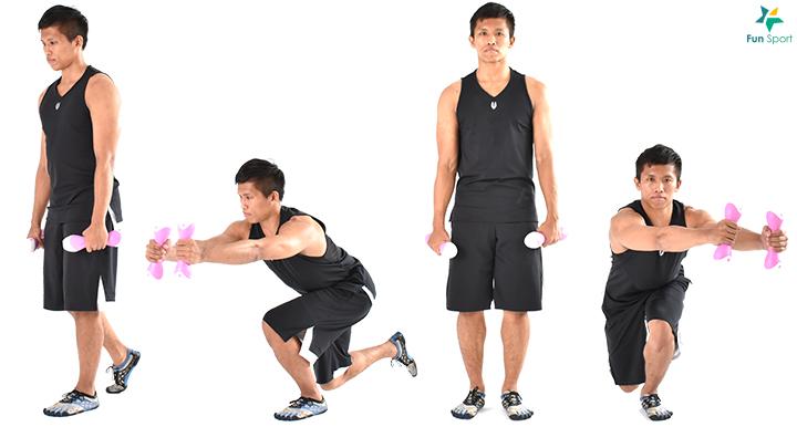 滑冰者蹲-1 Sport Menu-7 1. 單腳站立,手持重物。 2. 膝蓋微彎,身體前傾下沉,雙手朝向站立腳延伸。 3. 臀部用力,軀幹回到原來位置,每邊執行3 組6 下再換邊。 1. 單腳( 支撐腳) 站立,雙手持啞鈴。 2. 身體前傾下沉,膝蓋彎曲蹲下,雙手朝向支撐腳延伸。 3. 蹲至大腿與地面平行或後腳膝蓋點地,臀部大腿發力站起,此為一下,每 邊執行3 組6 下再換邊。