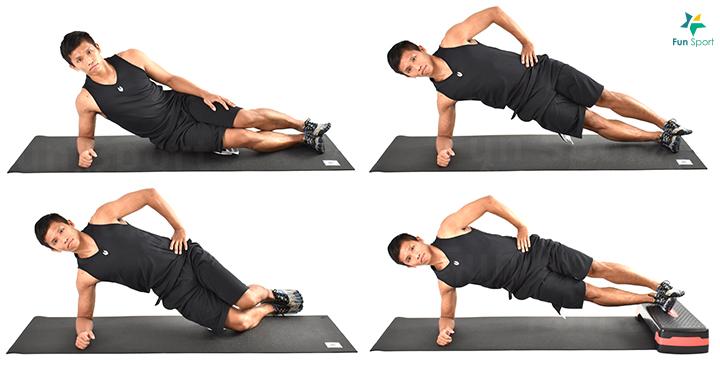 四 核心 ‧ 側棒式 1. 繃緊核心,臀部用力並抬起。 2. 頭、肩膀到腳踝應呈一直線。 3. 維持動作30 秒再換邊,重覆3 組。