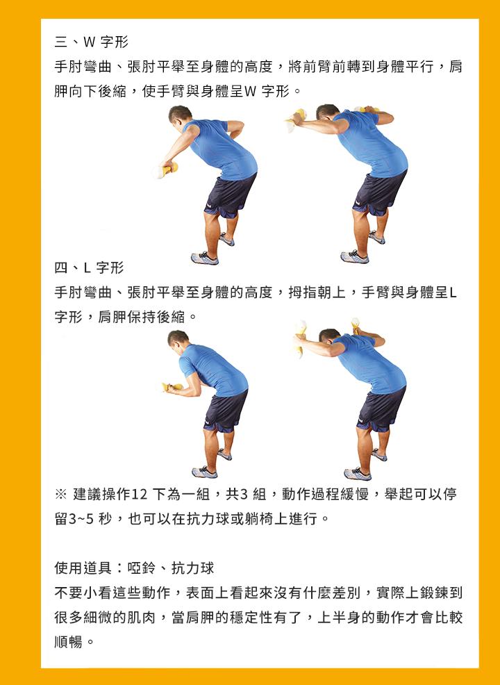 ※ 建議操作12 下為一組,共3 組,動作過程緩慢,舉起可以停留3~5 秒, 也可以在抗力球或躺椅上進行。 使用道具:啞鈴、抗力球 不要小看這些動作,表面上看起來沒有什麼差別,實際上鍛鍊到很多細微的 肌肉,當肩胛的穩定性有了,上半身的動作才會比較順暢。