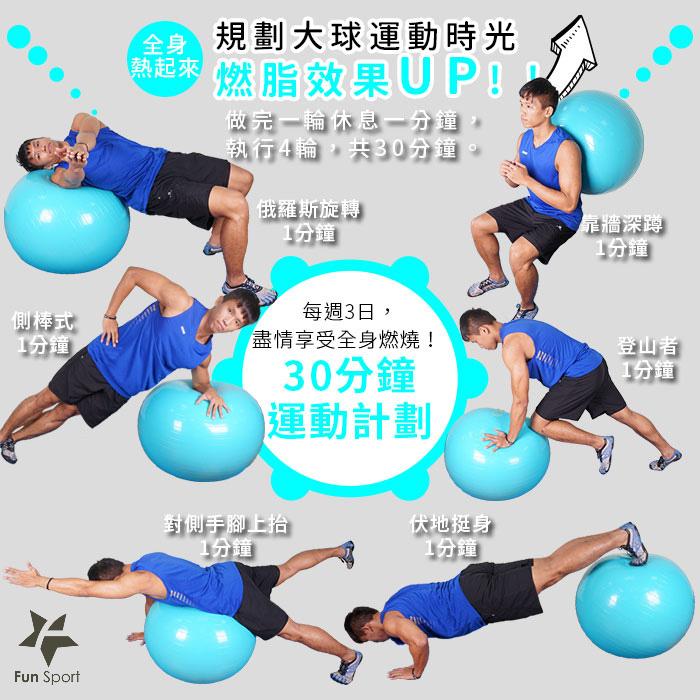 以下為循環訓練建議,居家玩健身球不會很困難,比TABATA多了更多樂趣,『有球必應』一起來玩樂大球運動吧!