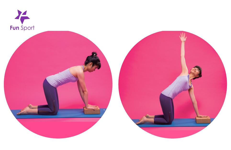 手拿瑜珈磚可以坐姿或站立輔助伸展暖身,很不錯,要試看看!