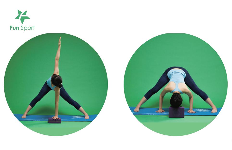 讓瑜珈磚穩定身體的受力和施力,防範某個肌肉範圍因施力不當而受傷。