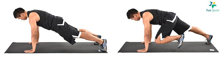 ‧ 登山者 1. 雙手撐地,從頭到腳踝呈一直線,像伏地挺身準備動作一樣。 2. 核心肌群繃緊,一腳抬離地面,膝蓋朝胸部靠近。 3. 回到起始姿勢再換腳進行,交互執行30 秒,操作4 組。