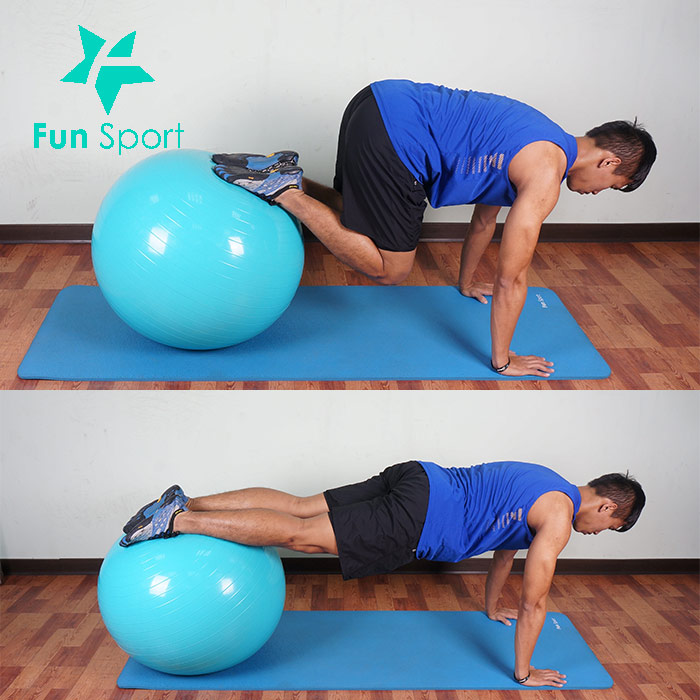 抗力球-腹肌運動-4:屈膝