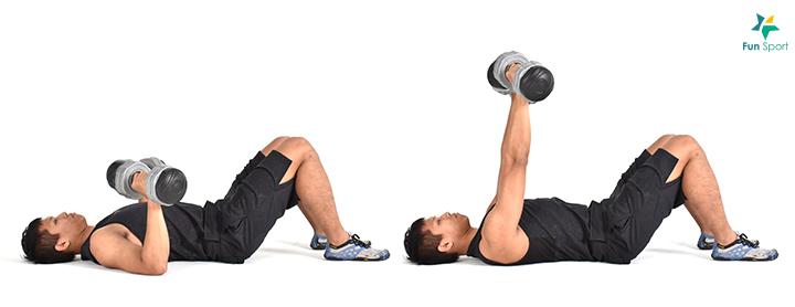 ※ 小秘訣:操作時後手臂可以稍微內轉,幫助肩胛骨收縮且舉得更重,並降 低肩關節受傷的機會。 簡易版本:可以躺在地面進行較為安全。