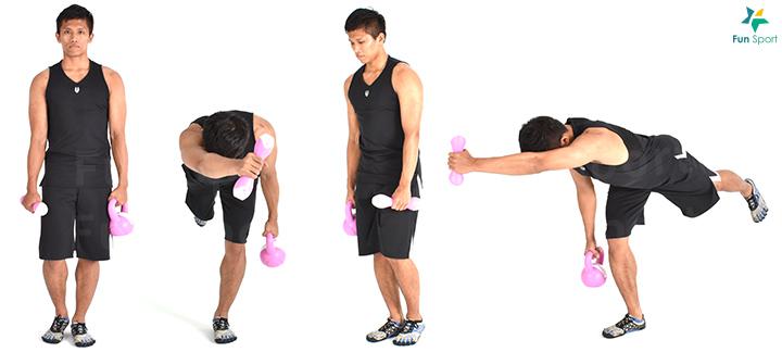 三 滑冰者蹲-2 Sport Menu-8 1. 一手持啞鈴,單腳( 支撐腳) 站立,站立邊手持壺鈴。 2. 身體前傾下沉,膝蓋彎曲蹲下,啞鈴朝向支撐腳方向延伸。 3. 蹲至大腿與地面平行或後腳膝蓋點地,臀部大腿發力站起,此為一下,每 邊執行3 組6 下再換邊。