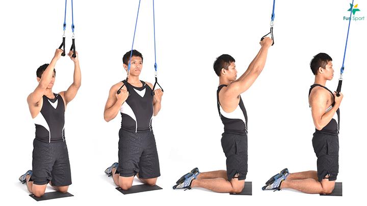 ※ 小秘訣:動作過程可以帶點旋轉,刺激肩胛的肌肉收縮。 ※ 鍛練功效:由於不是坐著操作,所以核心與臀部會參與的更多。
