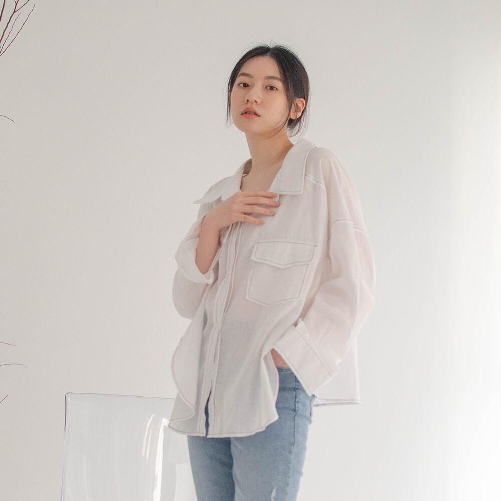 the madre棉麻亞麻透膚襯衫