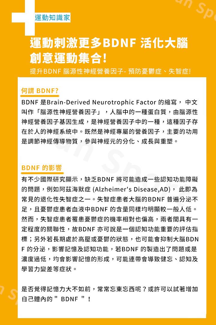 """何謂BDNF ? BDNF 是Brain-Derived Neurotrophic Factor 的縮寫, 中文叫作「腦源 性神經營養因子」,人腦中的一種蛋白質,由腦源性神經營養因子基因生成, 是神經營養因子中的一種,這種因子存在於人的神經系統中。既然是神經專 屬的營養因子,主要的功用是調節神經傳導物質,參與神經元的分化、成長 與重塑。 BDNF 的影響 有不少國際研究顯示,缺乏BDNF 將可能造成一些認知功能障礙的問題,例 如阿茲海默症 (Alzheimer's Disease,AD), 此即為常見的退化性失智症之 一。失智症患者大腦的BDNF 普遍分泌不足,且憂鬱症患者血液中BDNF 的 含量同樣均明顯較一般人低。然而,失智症患者罹患憂鬱症的機率相對也偏 高,兩者間具有一定程度的關聯性,故BDNF 亦可說是一個認知功能重要的 評估指標;另外若長期處於高壓或憂鬱的狀態,也可能會抑制大腦BDNF 的 分泌,影響記憶及認知功能,若BDNF 的製造出了問題或是濃度過低,均會 影響記憶的形成,可能連帶會導致健忘、認知及學習力變差等症狀。 是否覺得記憶力大不如前,常常忘東忘西呢?或許可以試著增加自己體內的 """" BDNF """"!"""