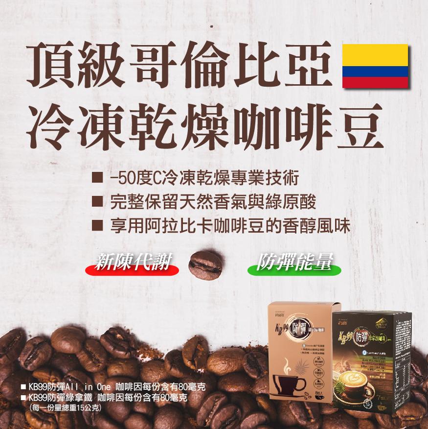 KB99防彈綠拿鐵哥倫比亞凍乾咖啡豆