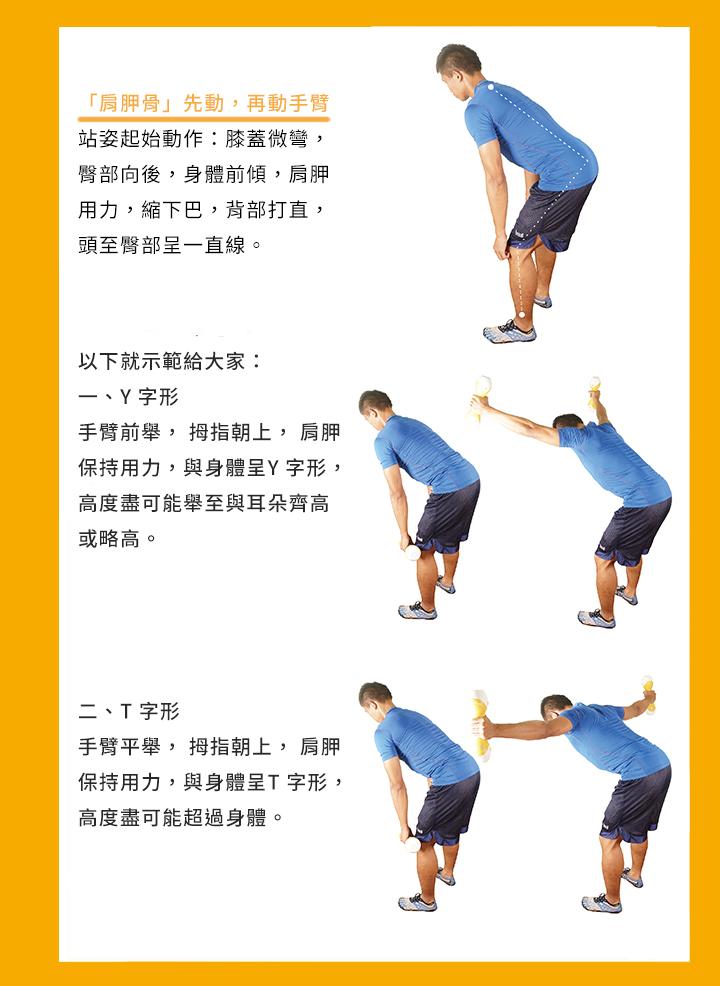 「肩胛骨」先動,再動手臂 站姿起始動作:膝蓋微彎, 臀部向後,身體前傾,肩胛 用力,縮下巴,背部打直, 頭至臀部呈一直線。 的狀況,此時反而需要鍛鍊肩部後側的肌肉了。就是因為肩胛穩定非常重要, 無論是對職業選手還是普通人來說,肩部的穩定都是你上肢力量的基石。而 所謂「YTWL」運動,就是針對肩胛穩定性的經典方法。 二、T 字形 手臂平舉, 拇指朝上, 肩胛 保持用力,與身體呈T 字形, 高度盡可能超過身體。