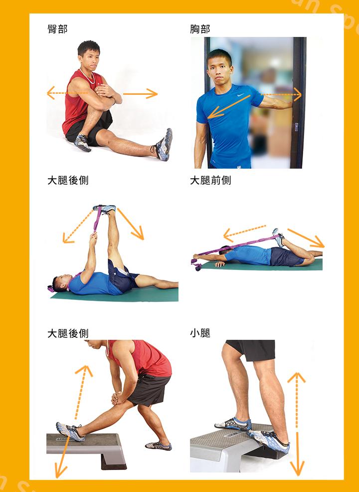 增加關節活動範圍及柔軟度。 本體感覺神經肌肉促進術(PNF) 是將要伸展的肌肉部位先稍微用力 (20~75%) 做等長收縮3~6 秒,再輔助伸展10~30 秒,累計60 秒,目的是 為了激活肌腱裡的高基式肌腱器(Golgi tendon organ), 使要伸展的肌肉 更放鬆。最大的好處是,PNF 對提高柔軟度的效果很明顯,而且操作得宜不 容易受傷。另外,我們受傷後常會因為固定、包紮而降低神經與肌肉的控制, 而PNF 可用來刺激本體感覺,達到增進神經與肌肉的連結,恢復動作協調能 力。 使用在伸展運動的PNF,大部分操作方式是藉由輔助者的協助,給予適當的 阻力,利用肌肉的主動與被動的伸展,來誘發神經與肌肉間的控制,使肌肉 達到更進一步的伸展,進而達到較佳的柔軟度。不過,由於需要其他人的協 助,操作這項技術比較容易受侷限,而且跟傳統的伸展相比,需要較高的技 巧難度,萬一施力不當可能容易造成肌肉及韌帶的損傷,並不是人人都能掌 握的。 所以以下介紹一些能自行能操作的PNF,自己操作的好處是強度能掌控,操 作方式如同前面所說的,參考看看吧。 ※ 實線為肌肉用力方向,虛線為伸展的部位與方向。