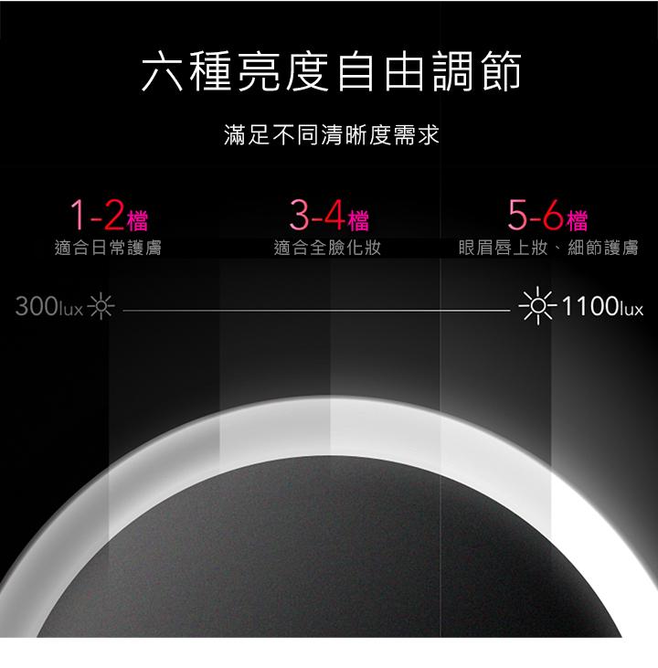 amiro化妝鏡調節六種亮度