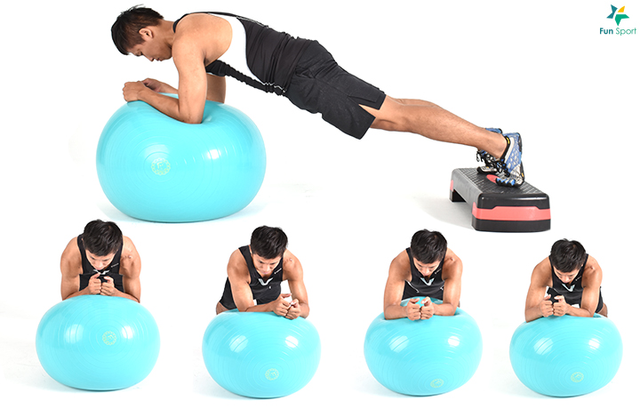 ※ 進階版本: 可以將雙腳利 用踏板墊高或手可以進行前 推或繞環的動作, 增加不穩 定性。 ※ 鍛鍊功效:球的不穩定性能刺激核心肌群參與更多,也可以用博蘇球替代。
