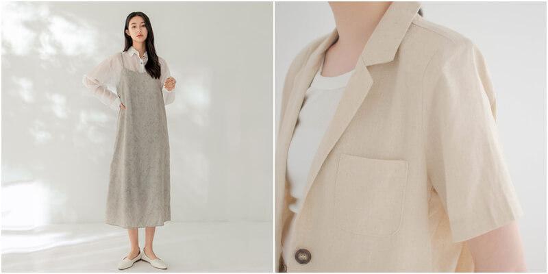 亞麻短袖西裝外套適合搭配細肩洋裝
