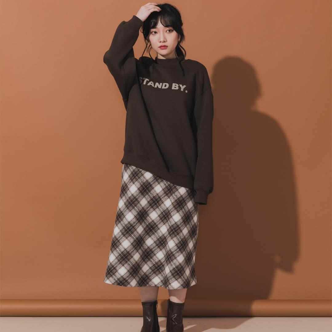 學院風菱格紋長裙
