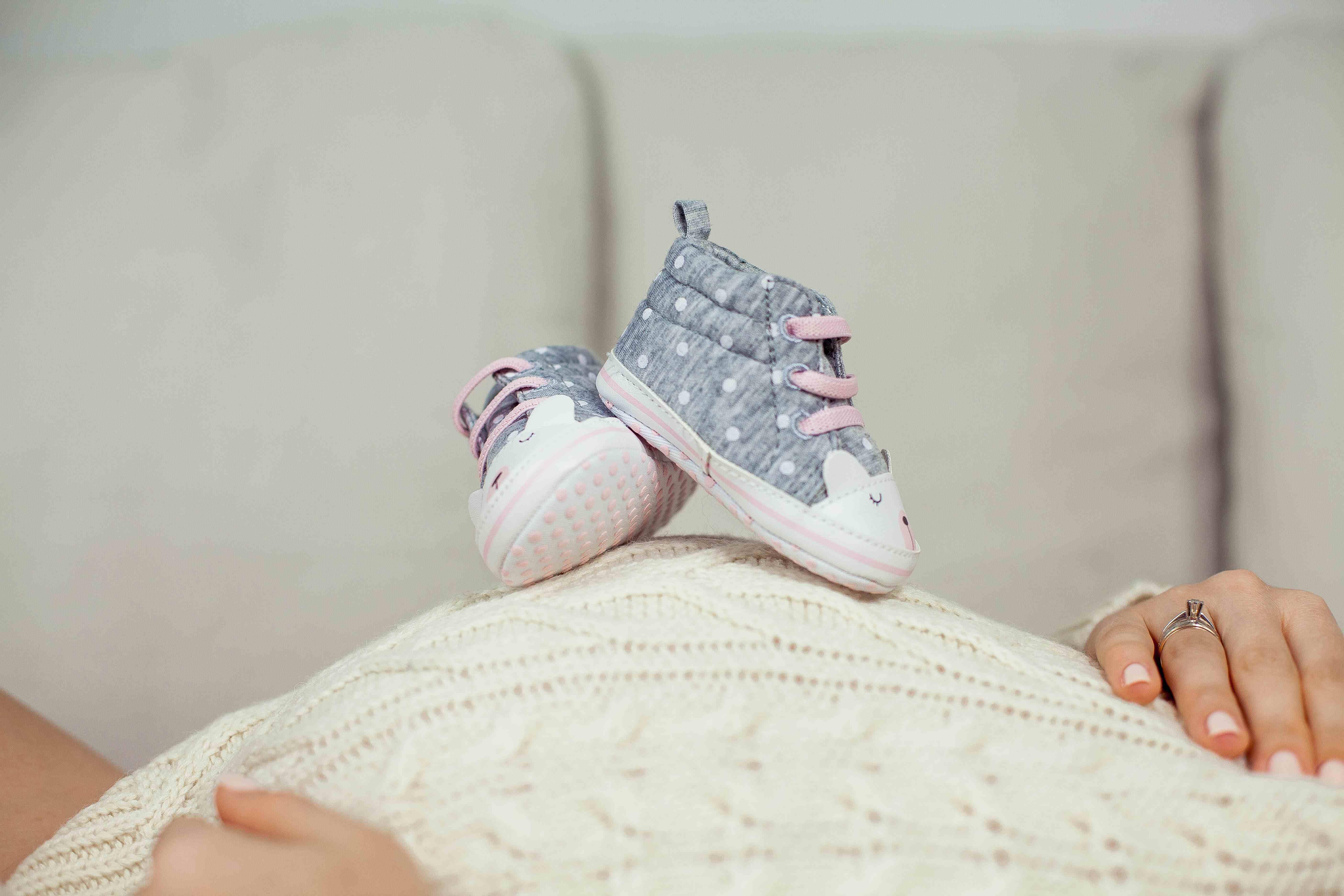 Baby shoe on white background, Baby shoe isolated