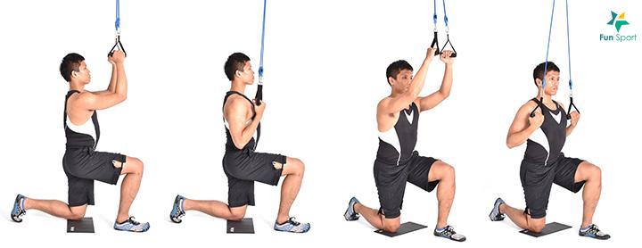 ※ 鍛練功效:由於不是坐著操作,所以能刺激核心與臀部的參與,而高跪姿 會考驗不穩定性使核心及臀部參與更多。