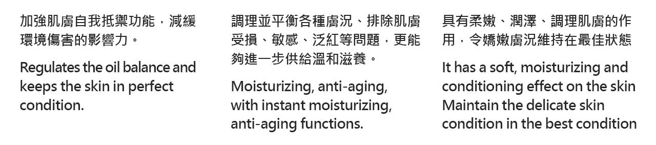 加強肌膚自我抵禦功能,減緩 環境傷害的影響力。   Regulates the oil balance and  keeps the skin in perfect  condition.調理並平衡各種膚況、排除肌膚 受損、敏感、泛紅等問題,更能 夠進一步供給溫和滋養。   Moisturizing, anti-aging,  with instant moisturizing,  anti-aging functions.具有柔嫩、潤澤、調理肌膚的作 用,令嬌嫩膚況維持在最佳狀態   It has a soft, moisturizing and  conditioning effect on the skin Maintain the delicate skin  condition in the best condition