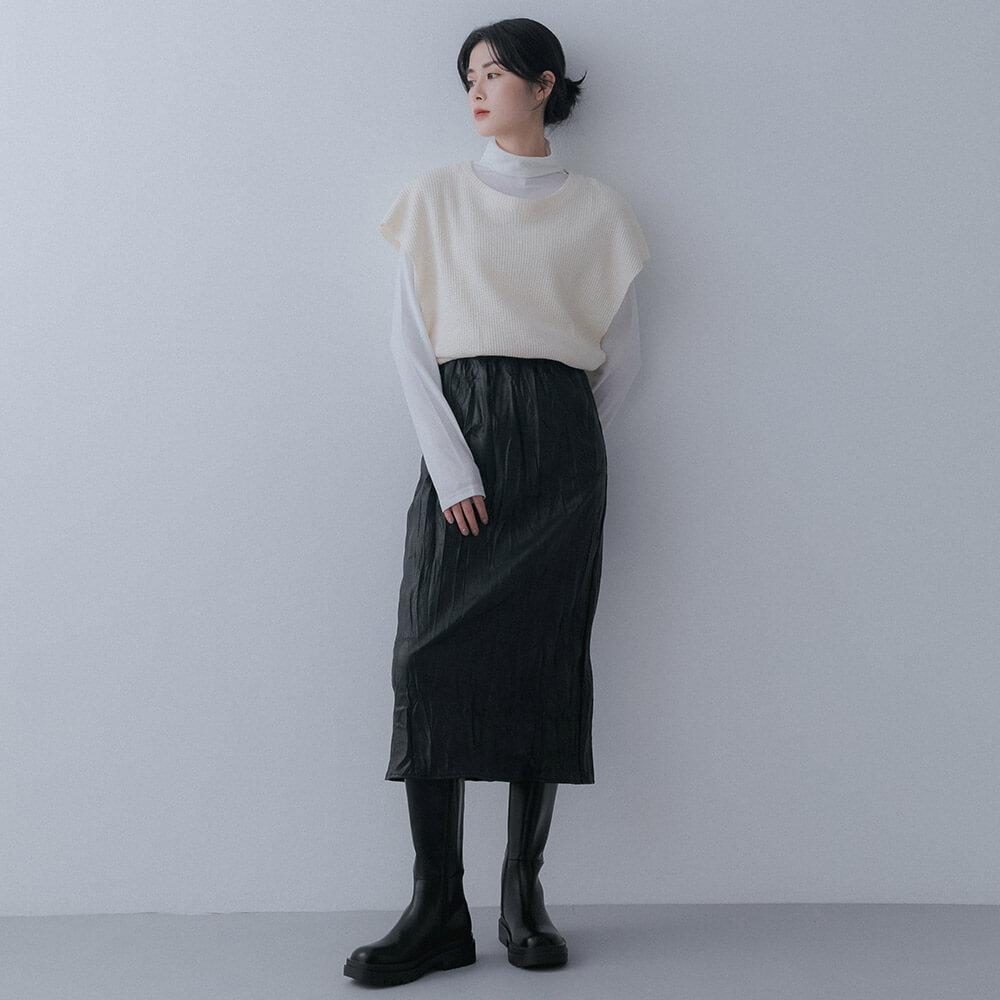 針織背心搭配窄裙