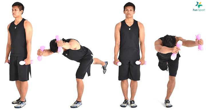 1. 單腳站立,手持重物。 2. 膝蓋微彎,身體前傾下沉,雙手朝向站立腳延伸。 3. 臀部用力,軀幹回到原來位置,每邊執行3 組6 下再換邊。