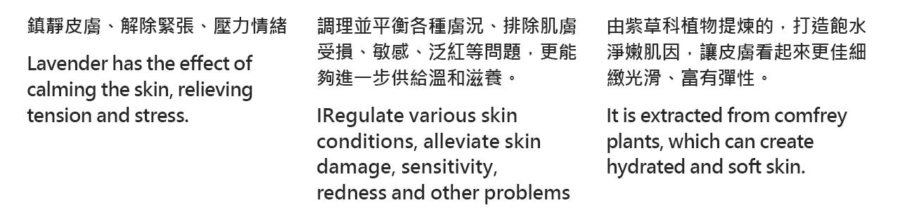 鎮靜皮膚、解除緊張、壓力情緒   Lavender has the effect of  calming the skin, relieving  tension and stress.調理並平衡各種膚況、排除肌膚 受損、敏感、泛紅等問題,更能 夠進一步供給溫和滋養。   IRegulate various skin  conditions, alleviate skin  damage, sensitivity,  redness and other problems由紫草科植物提煉的,打造飽水 淨嫩肌因,讓皮膚看起來更佳細 緻光滑、富有彈性。   It is extracted from comfrey  plants, which can create  hydrated and soft skin.