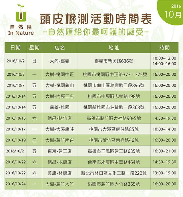 自然匯10月頭皮檢測時間表