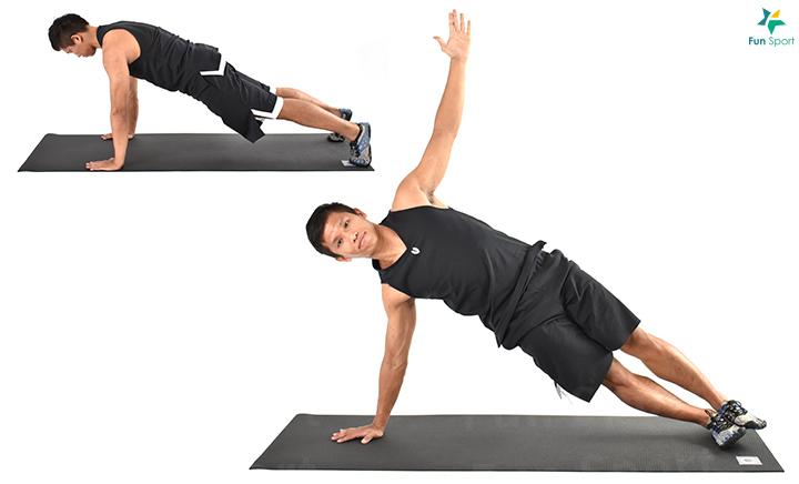 手臂打直,重心移至一手,身體向上旋轉,直到身體面向側邊