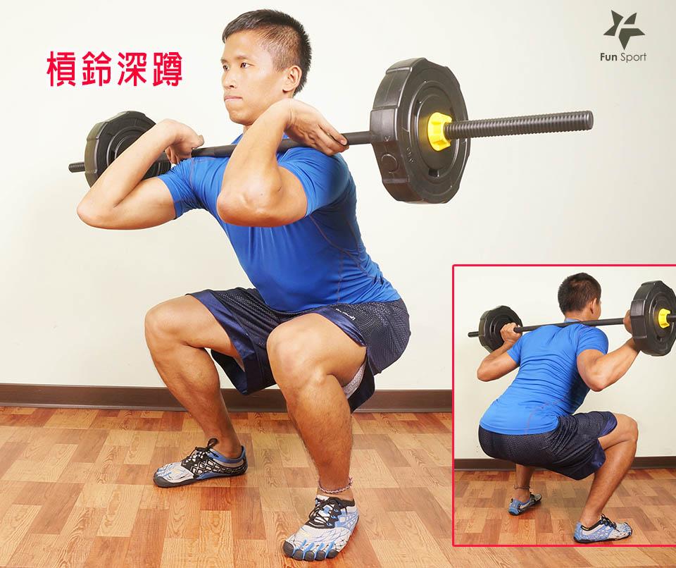 c.槓鈴深蹲:將槓鈴放至斜方肌的位置,肩胛收起,動作過程保持挺胸
