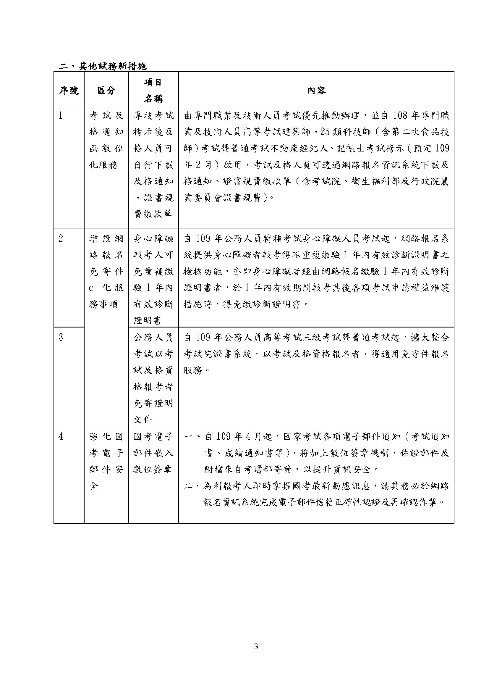 109年實施之考選新措施一覽表-3