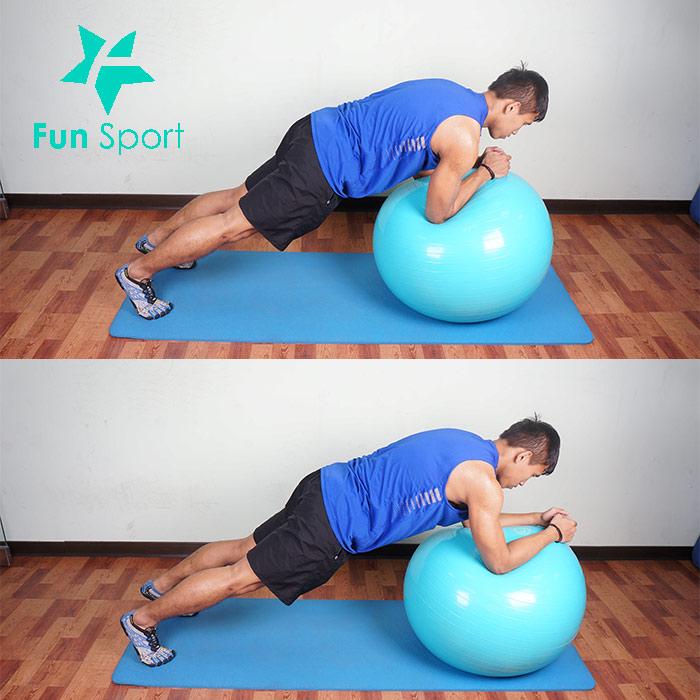 抗力球-腹肌運動-9:棒式繞圈