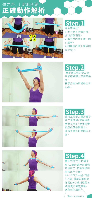 彈力帶教學 - 上背肌(挺胸消蝴蝶袖運動)-