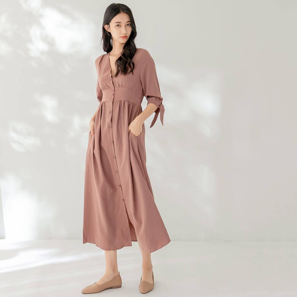 五分袖高腰優雅洋裝