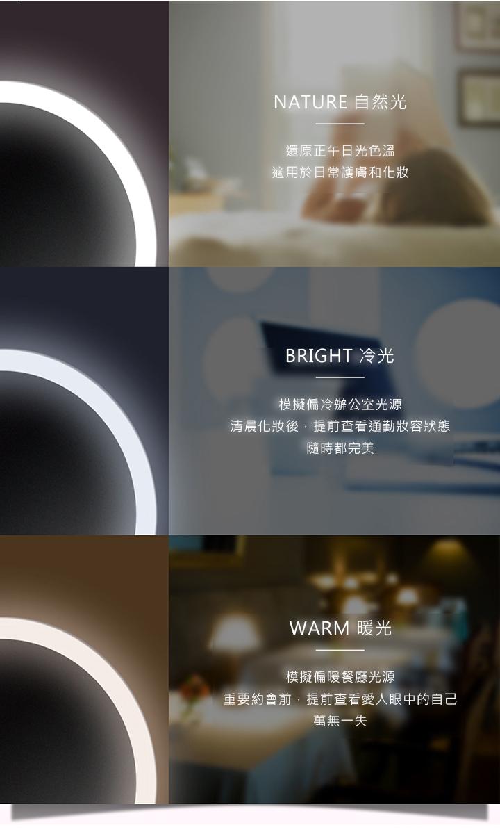amiro化妝鏡三種光源模式