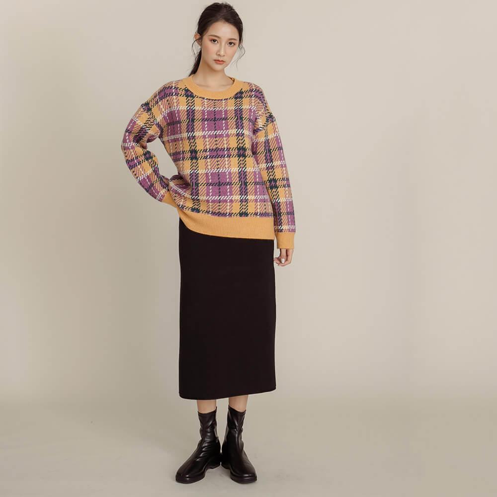 格紋針織毛衣