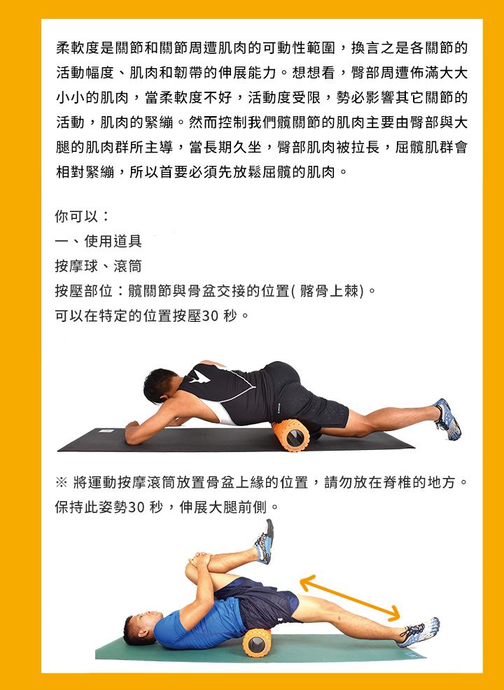 柔軟度是關節和關節周遭肌肉的可動性範圍,換言之是各關節的活動幅度、 肌肉和韌帶的伸展能力。想想看,臀部周遭佈滿大大小小的肌肉,當柔軟度 不好,活動度受限,勢必影響其它關節的活動,肌肉的緊繃。然而控制我們 髖關節的肌肉主要由臀部與大腿的肌肉群所主導,當長期久坐,臀部肌肉被 拉長,屈髖肌群會相對緊繃,所以首要必須先放鬆屈髖的肌肉。 你可以: 一、使用道具 按摩球、滾筒 按壓部位:髖關節與骨盆交接的位置( 髂骨上棘)。 可以在特定的位置按壓30 秒。